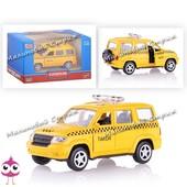 Инерционная металлическая машинка Такси taxi, двери открываются, джип