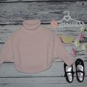 5 - 6 лет 116 см обалденный модный свитер джемпер накидка пончо летучая мышь пудра