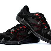 Мужские кроссовки черные с красными вставками (СКР-10чн)