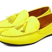 Желтые кожаные мокасины 40-45, Мл,33