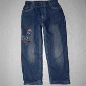 3-5 лет,  р. 98-110 джинсы утепленные на флисе с пайетками