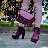 Модные замшевые ботинки на каблуке, 35-41 р., 21333,33