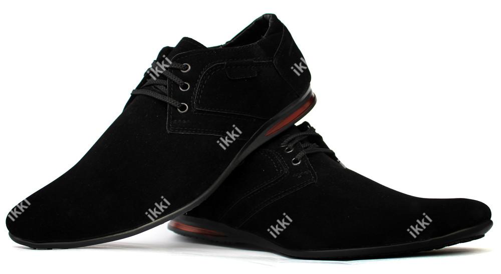 Классические современные мужские туфли эко-замша (БМ-01чзн) фото №1