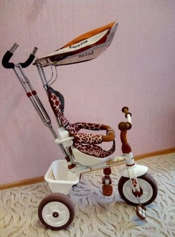 Трехколесный велосипед с родительской ручкой lexus trike safari жираф фото №1
