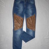 S-М, поб 46-48 эксклюзив! узкачи! джинсы скинни АС с кожаными вставками