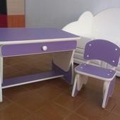 Столик и стульчик с регулировкой высоты. Цвет сирень/сакура