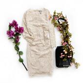Женское платье бежевое, кружевное