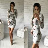 Красивое платье 40-46рр с принтом Мотылек