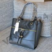 #17648 Gernas Black Женская плотная сумка, внутри три отделения!