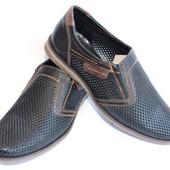 Мужские летние туфли, перфорированная кожа, нубук, замша
