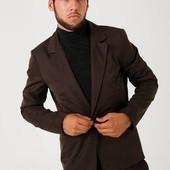 Пиджак мужской, стильный, на одной пуговице Темно-Коричневый