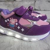 Фиолетовые кроссовки мигалки 29 р на 17,5 см   Свинка Пеппа