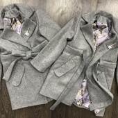 Модное кашемировое пальто Брошка 3 с поясом для маленькой леди