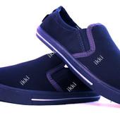 Мокасины мужские синего цвета Львовской фабрики (ПР-2802с)