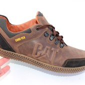 Мужские кожаные кроссовки коричневого цвета