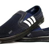 40 и 42 р Мокасины спортивные мужские синего цвета (БЛ-41с)