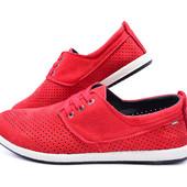 Последний размер Мокасины мужские красного цвета с перфорацией Multi-Shoes Perforation