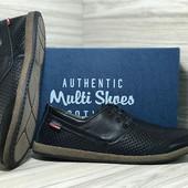 Мужские кожаные мокасины с перфорацией Multi-Shoes