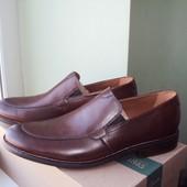 43р. Clarks. Кожаные туфли, мокасины, лоферы.  оригинал и сша. коричневые, кларкс.