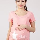 Хлопковая футболка для беременных, персик