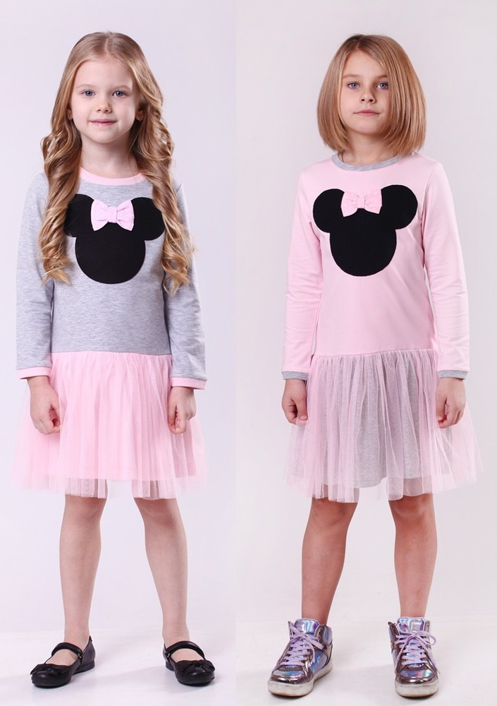 Красивое платье с розовой фатиновой юбкой и мики маусом. фото №1