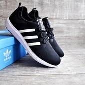 Кроссовки мужские сетка Adidas Bounce черные с белым