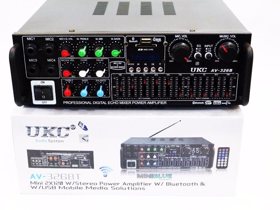 Усилитель звука ukc av-326bt + usb + bluetoth караоке 4 микрофона фото №1