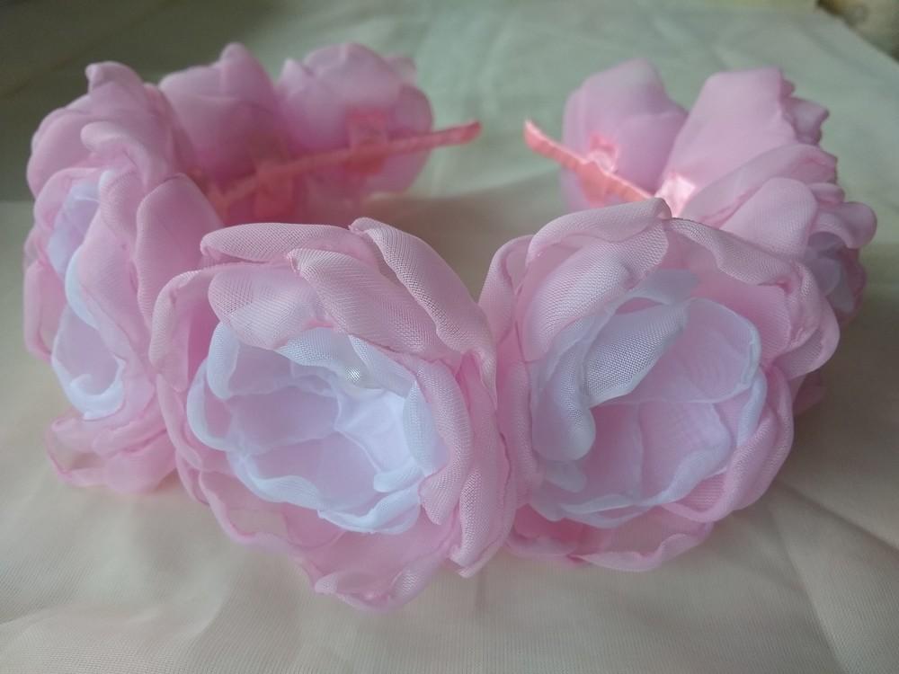 Обруч с цветами из шифона ручной работы,  ободок,  веночек фото №2