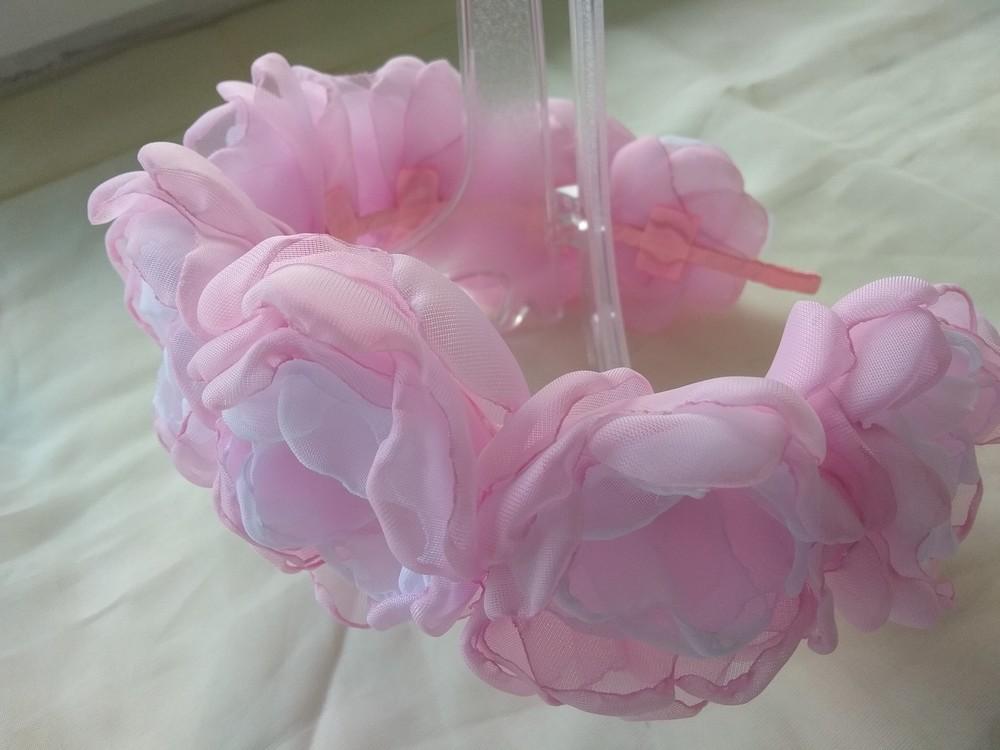 Обруч с цветами из шифона ручной работы,  ободок,  веночек фото №3