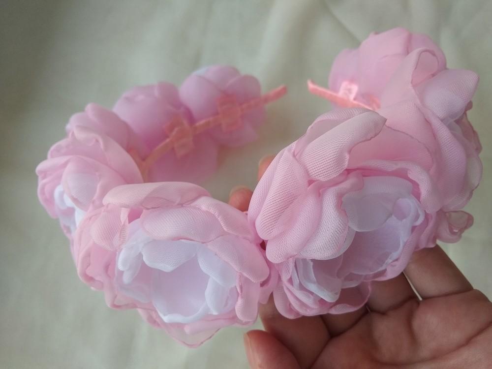 Обруч с цветами из шифона ручной работы,  ободок,  веночек фото №6