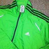 Яркая фирменная олимпийка ветровка Adidas с фликерами. Размер XL