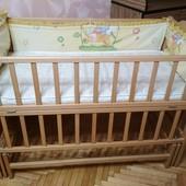 Детская кроватка Карпаты Люкс на шарнирах+матрас+защита+балдахин
