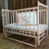 Детская кроватка Laska Эко из ольхи на маятнике без ящика
