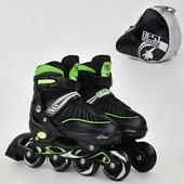 Ролики 5700 L Best Roller цвет зелёный размер 39-42 колёса PU, в сумке d 7cм
