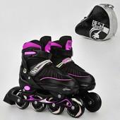 Ролики 5700 L Best Roller цвет розовый размер 39-42 колёса PU, в сумке d 7cм
