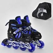 Ролики 9031 S Best Roller размер 31-34 цвет синий колёса PU, переставные колёса, в сумке