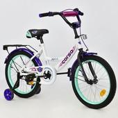 Велосипед 18 дюймов 2-х колёсный С18370 corso, белый ручной тормоз, звоночек, сидение с ручкой, доп.
