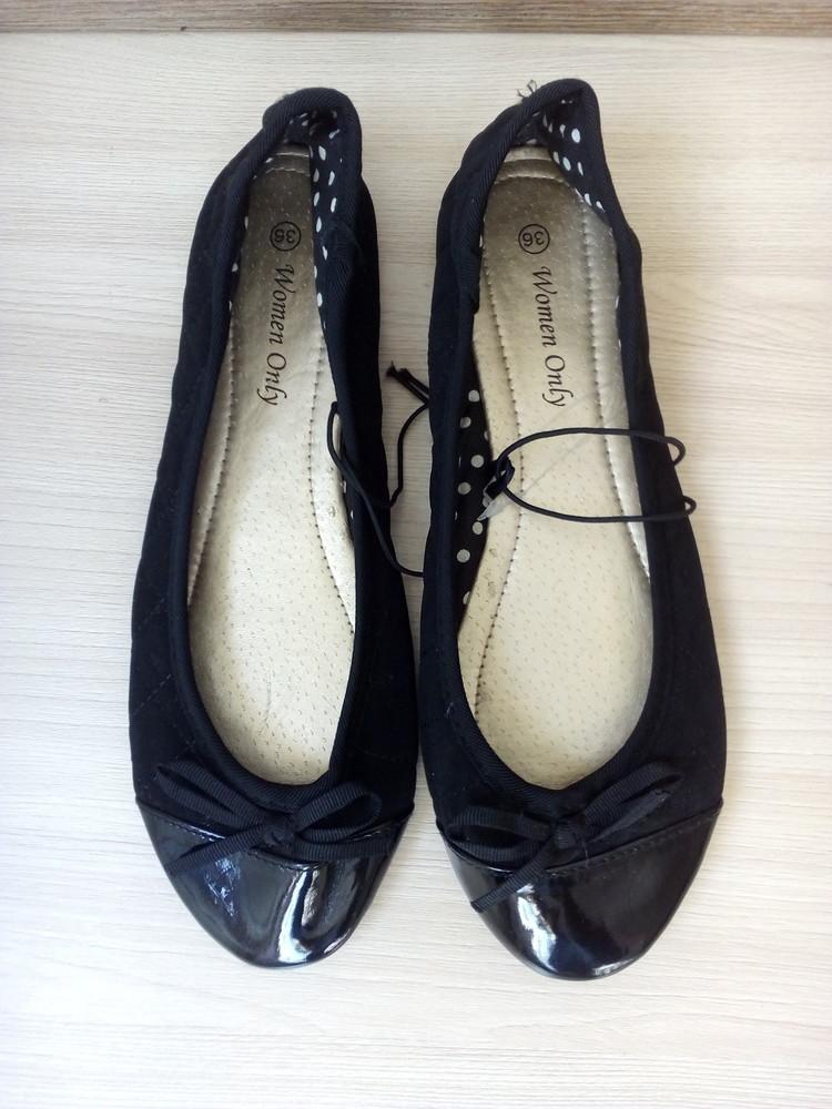 23см балетки черные с лакированным носком фото №1