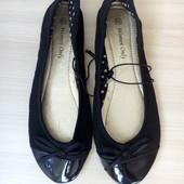 23см Балетки черные с лакированным носком