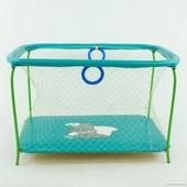 """Манеж игровой Kinderbox Люкс с крупной сеткой """"Слоник"""" (бирюзовый)"""