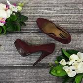 Бордовые туфли на высоком каблуке  SH1820189