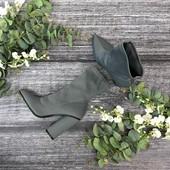 Актуальные полусапожки - чулки из серой плотной ткани  SH182082