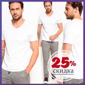 мужская футболка белая De Facto / Де Факто с кармашком на груди