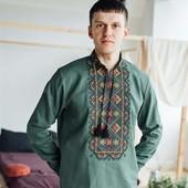 Вишиванка чоловіча зелена Льон С-4ХЛ