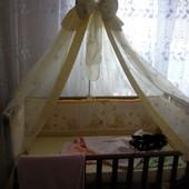 Кроватка Верес 120 на 60 с маятником без ящика с постелью, матрасом и балдахином