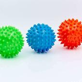 Мячик массажный резиновый с пупырышками 5653-7: диаметр 7см, вес 40г