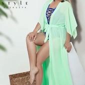 Женский пляжный шифоновый халат длинный большого размера 48 50 52 много цветов