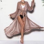 Женский пляжный халат с длинными рукавами