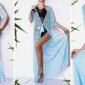 Женский пляжный халат гипюровый длинный