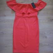 Новое платье с воланом кораллового цвета New Look, р.12